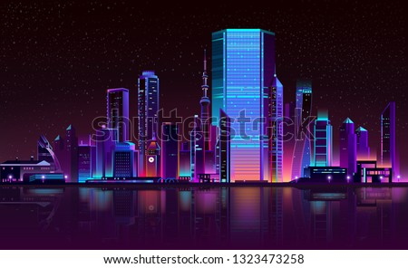 Modern metropolis night landscape in fluorescent, neon colors cartoon vector with illuminated futuristic architecture skyscrapers buildings on city bay shore illustration. Urban cyberpunk background Royalty-Free Stock Photo #1323473258