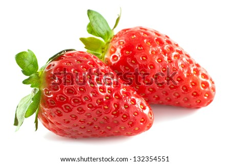 Two strawberries isolated on a white background #132354551