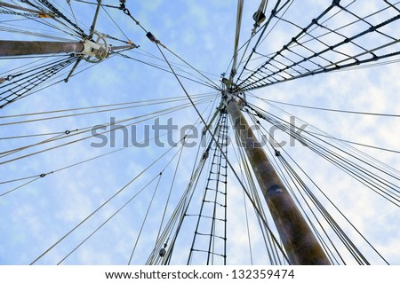 two wooden ship masts with ropes over blue cloudy sky #132359474