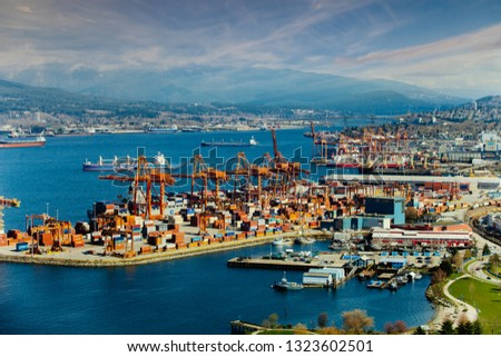 Vancouver harbor, British Columbia, Canada .logistic import export   in Canada, March 27,2016 #1323602501