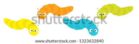Caterpillar insect icon set line. Baby collection. Crawling catapillar bug. Cute cartoon funny character. Smiling face. Flat design. Colorful bright blue green color. White background Isolated. Vector
