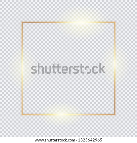 Gold square frame, golden border, vector framework, banner, metal glowing thin lines.  Geometric shape forms.  #1323642965