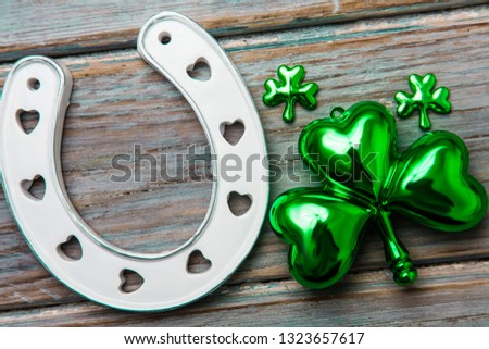 St Patrick's Day lucky horse shoe and green shamrock #1323657617
