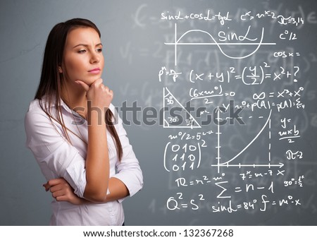 Beautiful young school girl thinking about complex mathematical signs #132367268