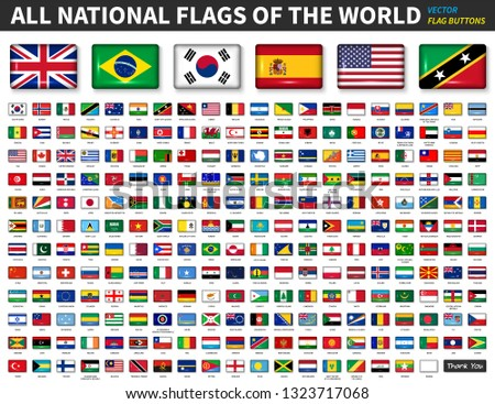 All national flags of the world . Shiny convex button design and ratio 4 : 6 . Elements vector #1323717068