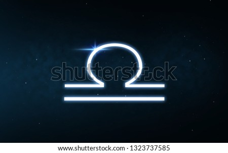 astrology and horoscope - libra sign of zodiac over dark night sky and stars background