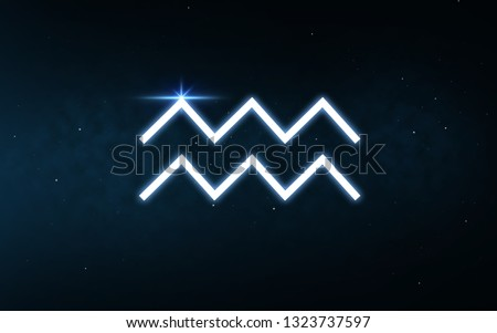 astrology and horoscope - aquarius sign of zodiac over dark night sky and stars background