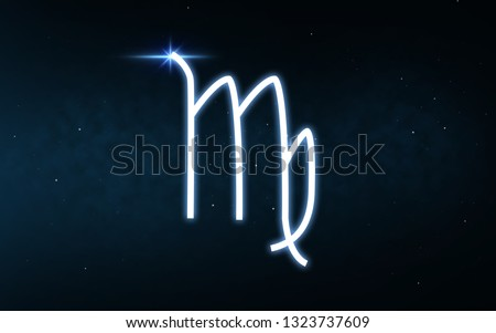 astrology and horoscope - virgo sign of zodiac over dark night sky and stars background
