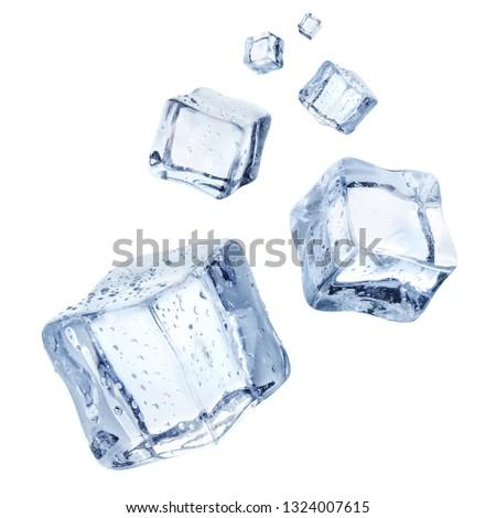 Falling ice cubes, isolated on white background #1324007615