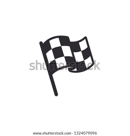 Flag icon. Racing sign. Checkered racing flag. Chequered racing flag on flagstaff. Black and white flag. Vector illustration. Finish, start mark. #1324079096