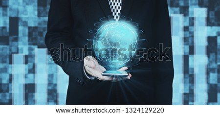 Businessman in Black Suit Holding Smartphone in Hand While Projecting Digital Globe Hud Interface Against Futuristic Background 3D Rendering  #1324129220
