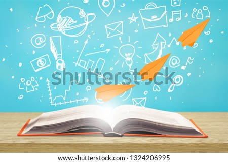 image of toy airplane and book over wooden table with set of back to school infographics.