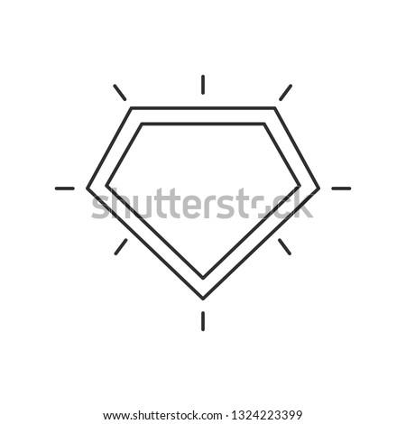 Shield line art icon. Superhero logo template.
