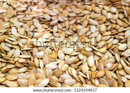 Pumpkin seeds background.Dried and salted seeds of the melon, pumpkin                               #1324244837