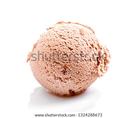 chocolate ice cream scoop close-up isolated on white background (with shadow)  #1324288673