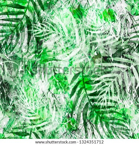 Vintage seamless watercolor pattern of plants, Herbs, flowers, poppy, palm tree, palm leaf, fern, spike, cereal, wheat. green, yellow,white flowers watercolor. stylish pattern. Abstract paint splash  #1324351712