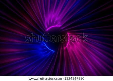 Abstract swirling corridor illuminated by neon lights 3D illustration #1324369850