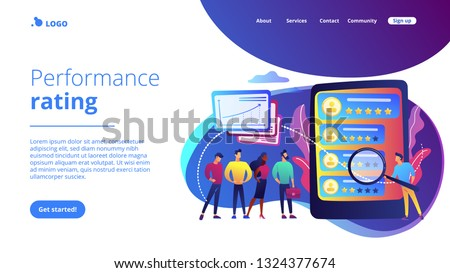 Tiny people analyst observing the workers performance on tablet. Performance rating, employee work measurement, work efficiency feedback concept. Website vibrant violet landing web page template. #1324377674