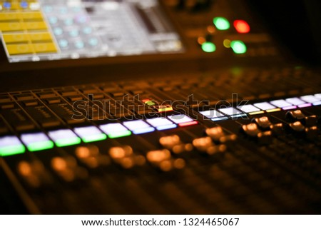 Equipment for sound mixer control in studio TV station, Audio and Video Production Switcher of Television Broadcast. #1324465067