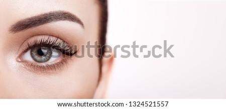 Female Eye with Extreme Long False Eyelashes. Eyelash Extensions. Makeup, Cosmetics, Beauty. Close up, Macro #1324521557