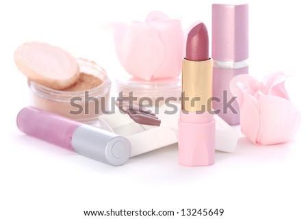 makeup set with soap roses, lipsticks, powder, sticks of eye shadows #13245649