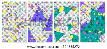 Pop art color background. Memphis pattern of geometric shapes for tissue and postcards. Vector Illustration. Hipster style 80s-90s. Abstract colorful funky background. #1324635272