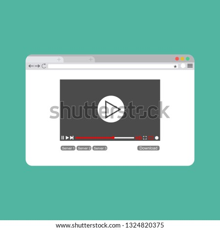 Modern video player design template for web and mobile apps flat style. Vector illustration #1324820375