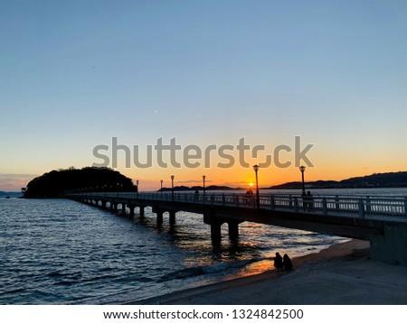 Takeshima and Takeshima Bridge in Gamagori City, Aichi Prefecture, Japan #1324842500