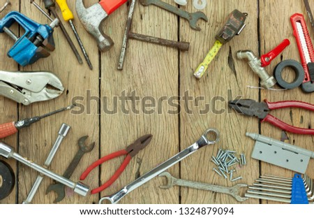 Set of tools on wooden background concept Father day and labor day background Copy space for your text. #1324879094