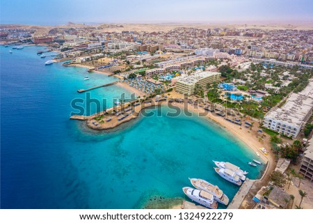 An aerial view on Hurghada town located on the Red Sea coast, Egypt. #1324922279