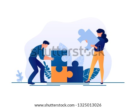 Solution. People fitting together pieces of a jigsaw puzzle. Cooperation and teamwork, solutions and problem solving. Flat concept vector illustration for web page, website and mobile Royalty-Free Stock Photo #1325013026