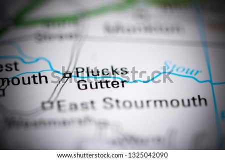Plucks Gutter. United Kingdom on a geography map #1325042090