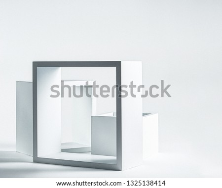 Abstract Hollow Square Boxes on White Background