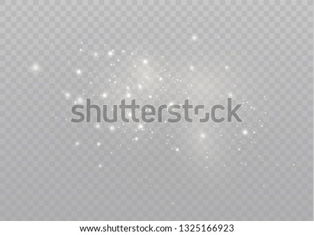 The dust sparks and golden stars shine with special light. Vector sparkles on a transparent background. Christmas light effect. Sparkling magical dust particles. #1325166923