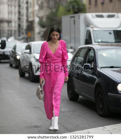 Milan 23 February 2019, Marta Lozano before Ermanno Scervino fashion show during Milan Fashion Week , collection fall/winter 2019-20'  #1325281799