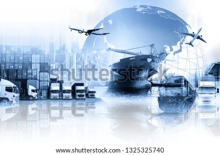 World map with logistic network distribution on background. Logistic and transport concept in front  Container Cargo freight ship for Concept of fast or instant shipping, Online goods orders worldwide #1325325740