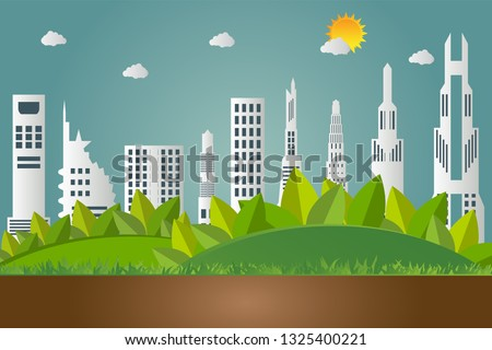 Green earth concept with leaves.Ecology cities help the world with eco-friendly concept ideas #1325400221