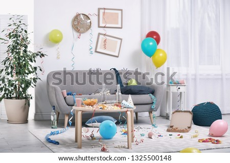 Messy living room interior. After party chaos #1325500148