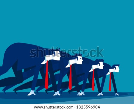 Business people lined up getting ready for race. Concept business vector illustration,  Starting line, Startup #1325596904