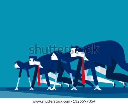Business people lined up getting ready for race. Concept business vector illustration,  Starting line, Startup #1325597054