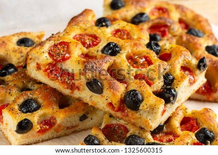 Close up of focaccia pugliese #1325600315
