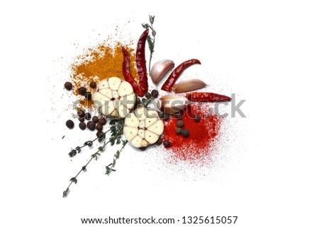Fresh garlic and spices on white background #1325615057