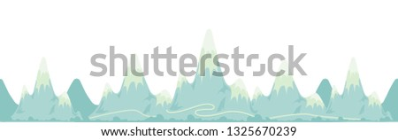 Repeat pattern with many mountains, road, forest, vector flat cartoon illustration #1325670239