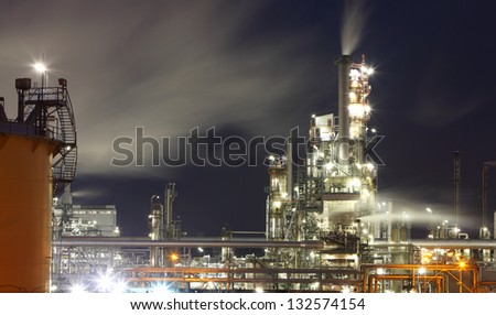 Oil refinery at twilight #132574154