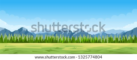 Cartoon illustration of the rural summer landscape with forest and mountains on background #1325774804