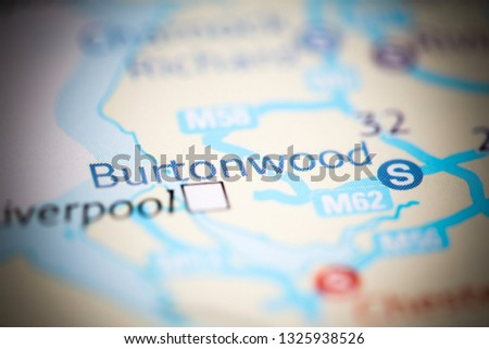 Burtonwood. United Kingdom on a geography map #1325938526