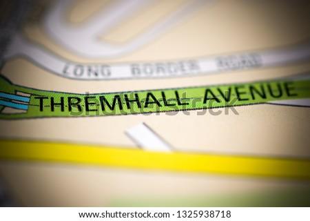 Thremhall Avenue. United Kingdom on a geography map #1325938718