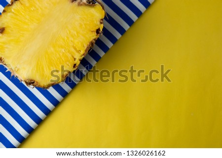 Pineapple on yellow light background. Abstract summer background, copy space. #1326026162