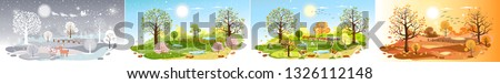 Panorama landscape natural backgrounds of four seasons. Winter wonderland, Rainy on Spring,Hot sunny day on summer, Autumn with leaves falling.Set cartoon flat design 4 seasons background illustration Royalty-Free Stock Photo #1326112148