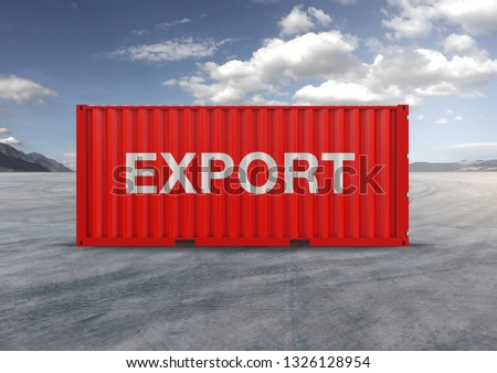 A container, for export and import in isolated background, 3D rendering, a key element in globalization, reduces freight costs and speeds up logistics. Used by the 10 largest importers and exporters. #1326128954